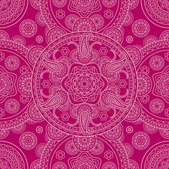 Pink ethnic ornate boho doodle seamless pattern. Vector illustration