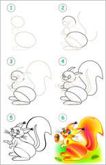 Page shows how to learn step by step to draw a squirrel. Developing children skills for drawing and coloring. Vector image.
