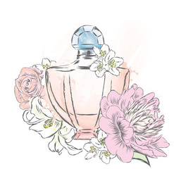 Perfume bottle and flowers. Vector . Print on a postcard, poster or clothing.