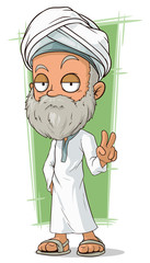 Cartoon old arabian man with beard