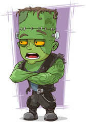 Cartoon scary green monster Frankenstein