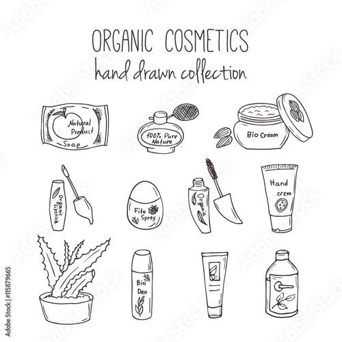 Vector Cosmetic Bottles Organic Cosmetics Illustration Doodle Skin
