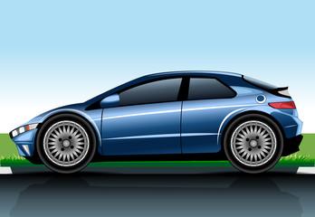 Big blue realistic car model. Digital vector image