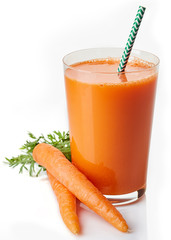 Foto op Canvas Sap Glass of fresh carrot juice