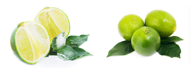 Ripe fruit with lime leaves and ice isolated on white background