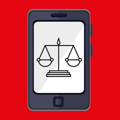smartphone and justice isolated icon design, vector illustration  graphic
