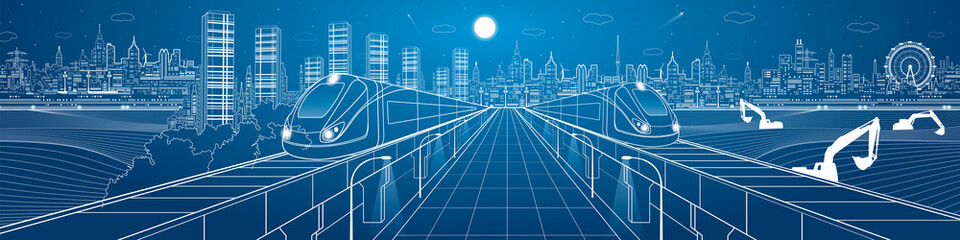 Amazing infrastructure panorama city, trains travel over bridges, industrial and transportation illustration, night town, airplane flying, building scene, vector design art