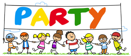 Gruppe Kinder feiert Party in Natur