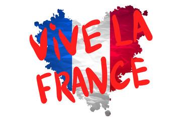 Vive la France hand painted national flag. vector
