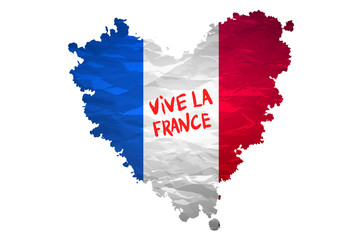 Vive la France hand painted national flag. vector