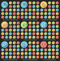 Set of 190 Universal Flat Minimalistic Thin Line Icons on Circular Colored Buttons (Multimedia, Education, Busines, Ecology, Fitness, Medical and Family Icons) on Black Background.