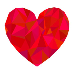 Vector polygonal red heart on white background.