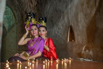 Thailand Lanna women dress .Thai woman dressing traditional. Wea
