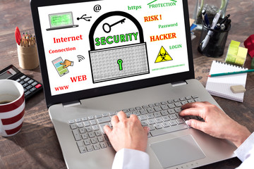 Concept of data security on a laptop screen