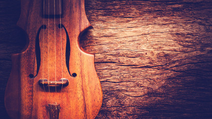 classical violin on old wood