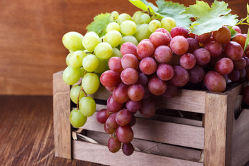 Red and white ripe grapes
