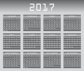 Deutsch calendar 2017 greyscale with festivities