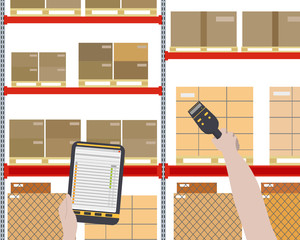 Worker checks for a large warehouse with cargo using a barcode scanner. Vector illustration