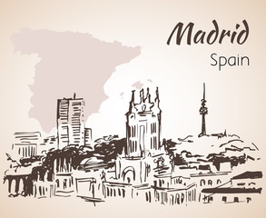 Madrid cityscape with map.