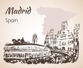 Plaza de Cibeles Fountain and Square. Madrid