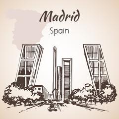 Madrid hand drawn street. Spain.