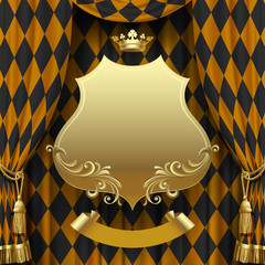 Golden rhomboids background with a suspended signboard and crown