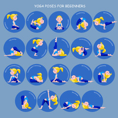 Cartoon blonde girl in Yoga poses with titles for beginners