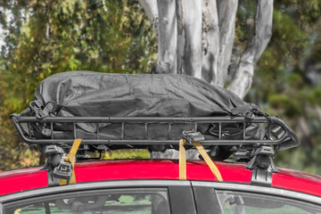Black duffle bag on car roof rack, tree and green foliage background