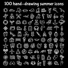 100 hand-drawing summer icons