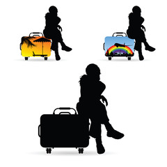 girl silhouette siting on travel bag set illustration