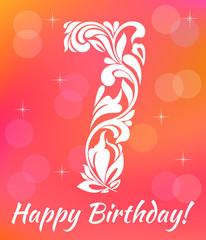 Bright Greeting card Invitation Template. Celebrating 7 years birthday. Decorative Font with swirls and floral elements.