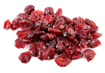 pile of dried cranberries on white background