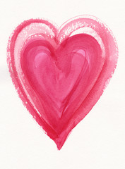Pink watercolor heart painting