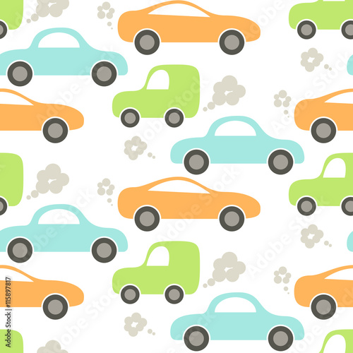 380f2aa5bb4a4 Car cute baby vector seamless pattern. Kid fabric and apparel design ...