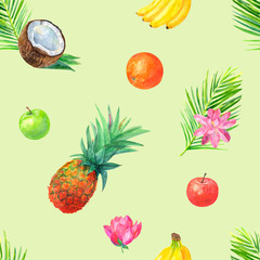 Watercolor tropical seamless pattern with tropical fruit, pineapple, bananas, oranges, apples, palm leaves, lotus flower on green background, watercolor painting, illustration in vintage style
