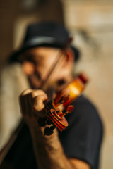 violinist playing.