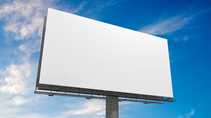 3D illustration of blank white billboard against blue sky. Wall mural