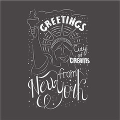 "Conceptual handwritten calligraphic design. Motivational  vector typography ""Greetings from New York city of dreams""."