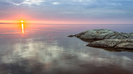 Sunrise at Ladoga Lake in Karelia, Russia