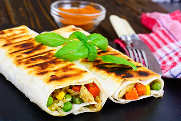 Shawarma Lavash with Rice and Vegetables