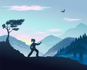 Vector illustration of Tai Chi