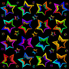 Neon bright stars. The pattern and the background of the stars on a black background