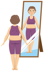 ダイエットをしている中年女性が鏡を見ているイメージイラスト(ビフォー)