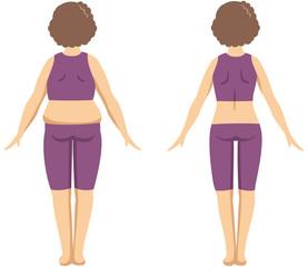 ダイエットをしている中年女性の後ろ姿イメージイラスト(ビフォーアフターセット)