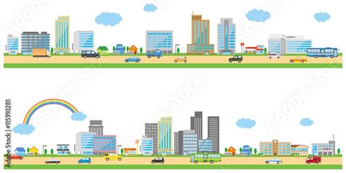 横長の街並みイメージイラストfotoliacom の ストック画像と
