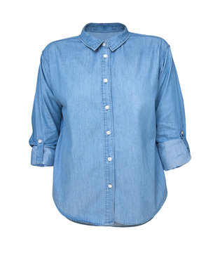 blue jean shirt isolated on black background