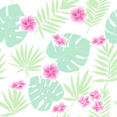 Green tropical leaves and  pink flowers. Vector seamless pattern