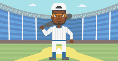 Baseball player with bat vector illustration.