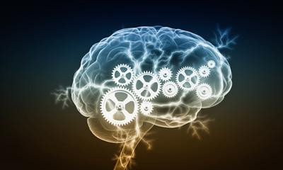 Mechanism inside human brain . Mixed media