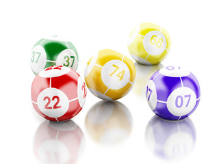 3d Red bingo card with colorful balls.